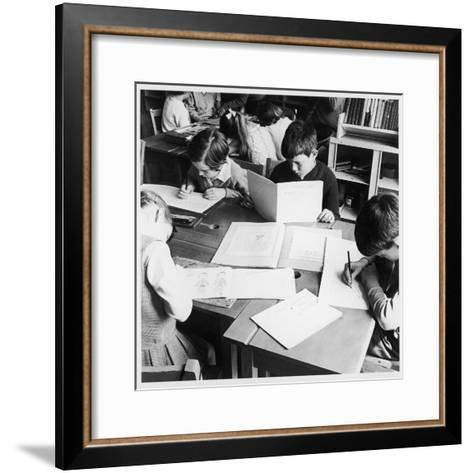 Walter Halls Primary School, Nottingham Children Reading, Writing and Drawing-Henry Grant-Framed Art Print