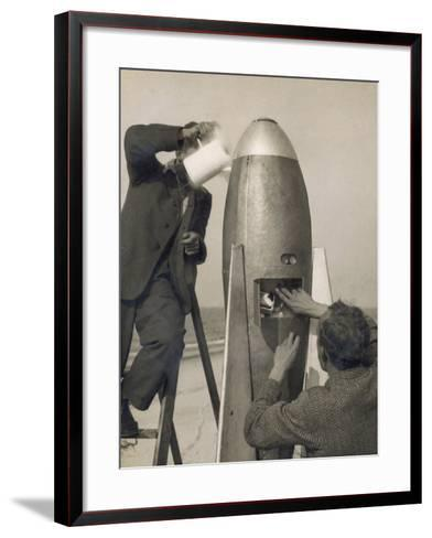 German Rocket Experiments on a Windswept Spit of Land, Filling the Device with Its Chemical Fuel--Framed Art Print