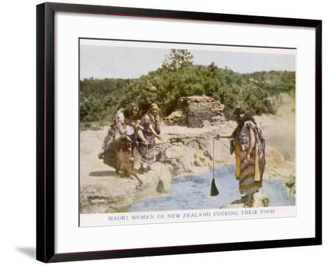 Maori Women in New Zealand Cooking Food in a Hot Spring--Framed Art Print