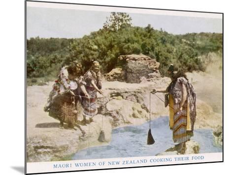 Maori Women in New Zealand Cooking Food in a Hot Spring--Mounted Photographic Print