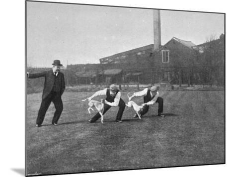 Two Owners Demonstrate How Whippets are Started in a Race : This Is known as 'Flapping'--Mounted Photographic Print