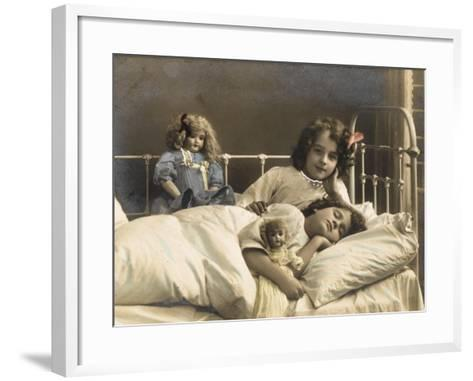 Two Sisters Prepare for Bed - and of Course their Dolls Come to Bed with Them--Framed Art Print