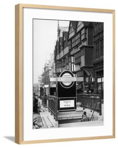 The Front of Staples Inn and the Entrance to Holborn Underground Station Central London--Framed Art Print
