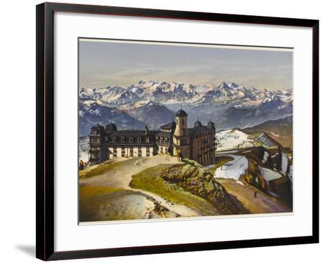 Swiss Alps: on the Rigi Summit, with the Bernese Alps in the Distance--Framed Art Print
