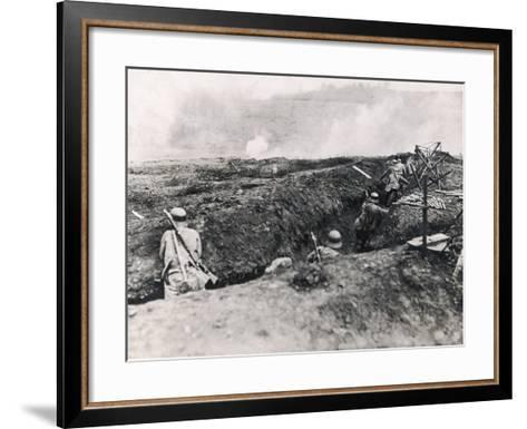 Action on the Western Front Photographed from German Trenches--Framed Art Print