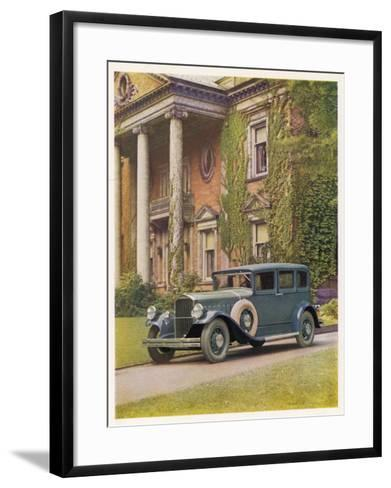 Saloon Parked Outside a Stately Mansion--Framed Art Print