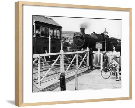 The Cambrian Coast Express Steam Locomotive Train at Llanbadarn Crossing Near Aberystwyth Wales--Framed Art Print