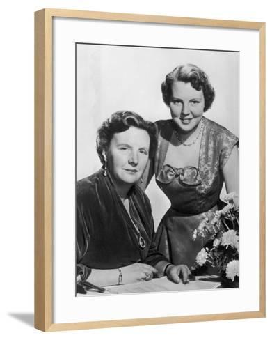 Juliana Queen of Holland Queen of Holland with Her Daughter Beatrix in 1956--Framed Art Print