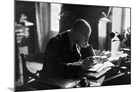 D'Annunzio in His Study-Ferrario di Gardone Riviera-Mounted Photographic Print