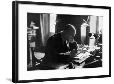 D'Annunzio in His Study-Ferrario di Gardone Riviera-Framed Art Print