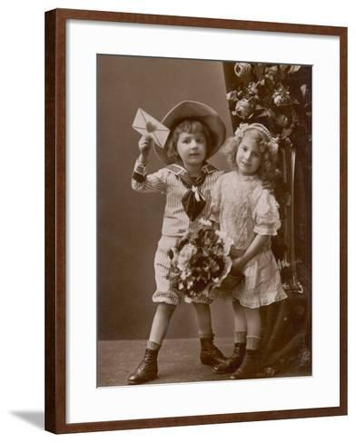 Two Children Carry a Love Letter, To My Little Sweetheart--Framed Art Print