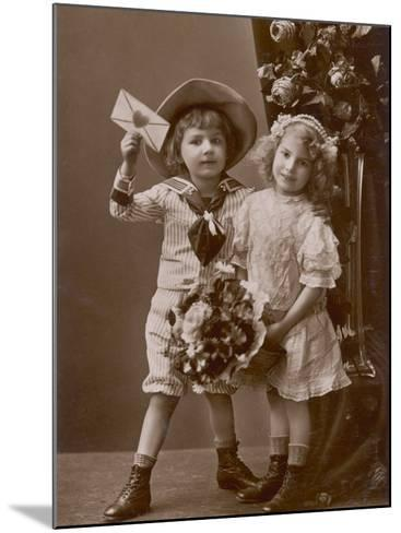 Two Children Carry a Love Letter, To My Little Sweetheart--Mounted Photographic Print