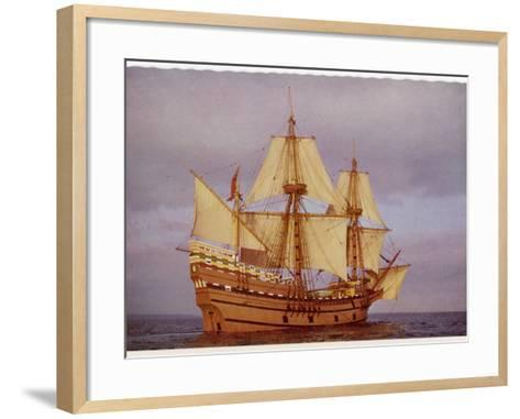 """Model of the Ship Which Carried the """"Pilgrim Fathers"""" from Europe to the New World--Framed Art Print"""