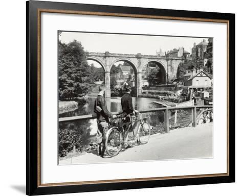 Two Cyclists Take a Break on a Bridge Over the River Nidd at Knaresborough-Fred Musto-Framed Art Print