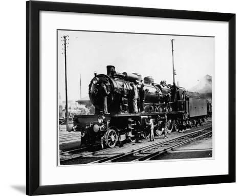 A Group of British Railway Engineers Carrying Out Safety Checks a Steam Locomotive--Framed Art Print