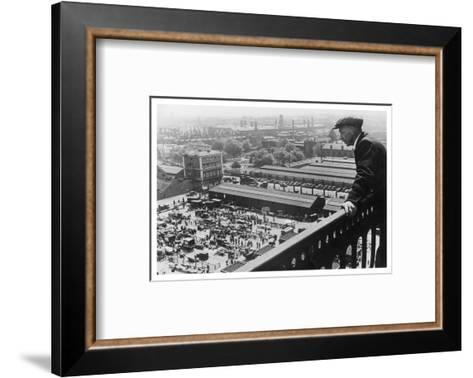 A Man Looks Down over the Old Caledonian Road Market, Caledonian Road, North London--Framed Art Print