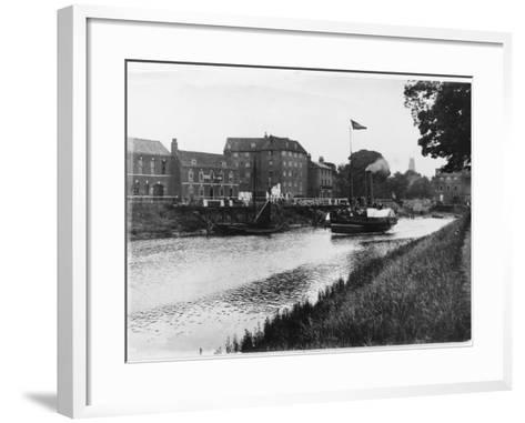 A Paddle Steamer Carries Excursionists on the River Witham at Boston, Lincolnshire, England--Framed Art Print