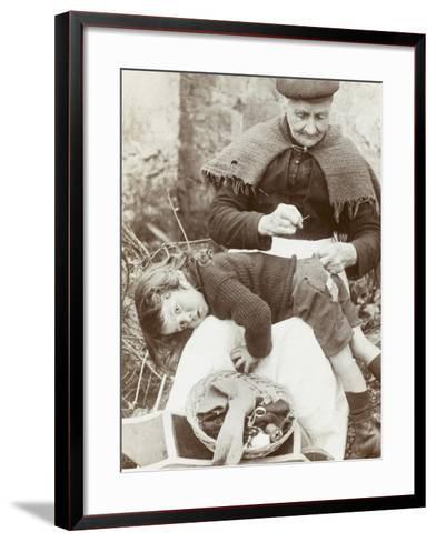 Cornish Grandmother Repairs Her Grandson's Clothing--Framed Art Print