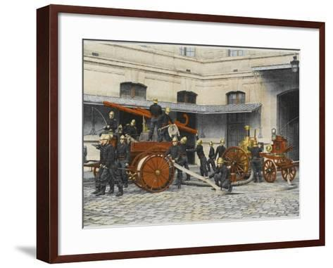 French Sapeurs-Pompiers Manoeuvre their Engines at the Scene of a Fire--Framed Art Print