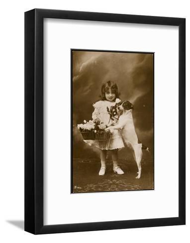 Girl and Her Pet Dog--Framed Art Print
