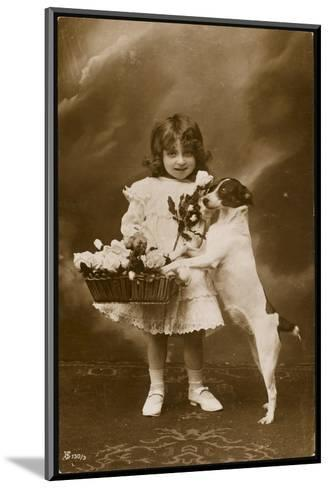 Girl and Her Pet Dog--Mounted Photographic Print
