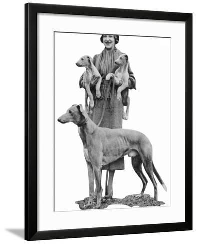 Mrs Arundel Kempton with Mick the Miller and Puppies--Framed Art Print
