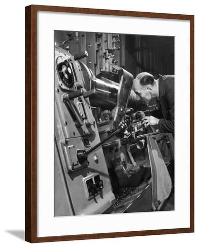 A Lathe Operator at Work-Heinz Zinram-Framed Art Print