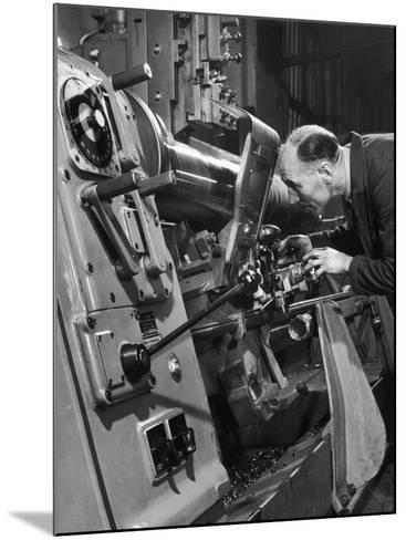 A Lathe Operator at Work-Heinz Zinram-Mounted Photographic Print