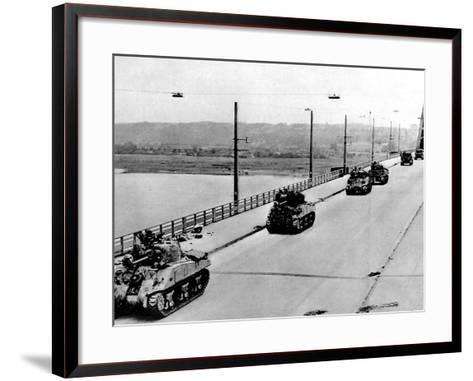 British Tanks on Nijmegen Bridge; Second World War, 1944--Framed Art Print