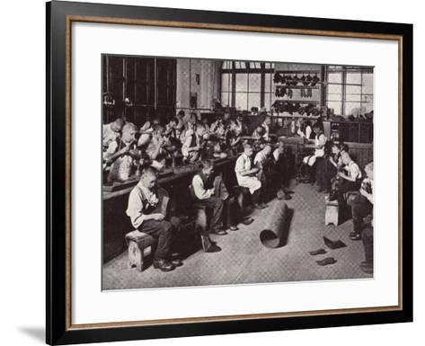 Bootmaker's Shop at Barnardo's Home, Stepney Causeway-Peter Higginbotham-Framed Art Print