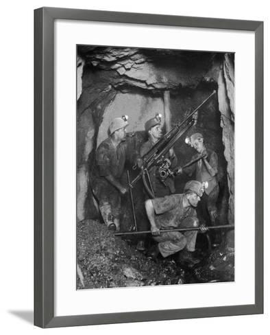 Cornish Tin Miners Below Ground--Framed Art Print