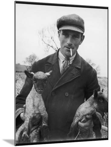 Farmer Holding His New Born Lambs in the Cotswolds-Henry Grant-Mounted Photographic Print