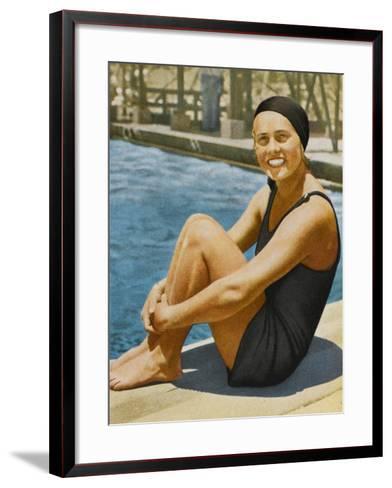 """Miss Olympia"" - Ingeborg Sjoquist, Swedish Swimmer--Framed Art Print"