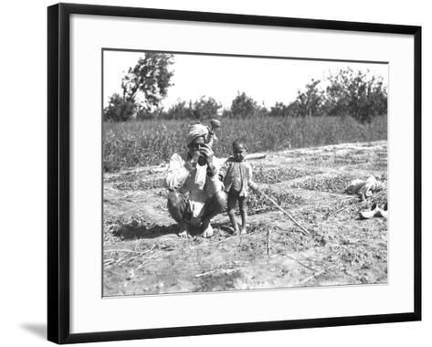 Father and Child in a Field, India--Framed Art Print