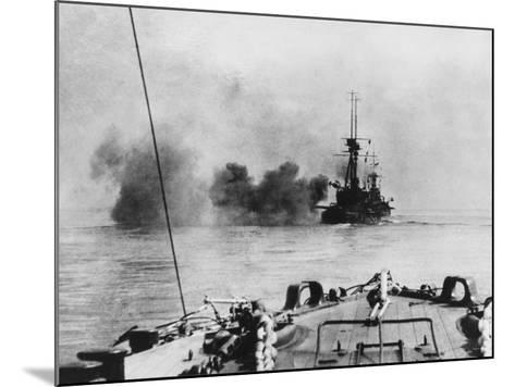 French Battleship in Action in the Dardanelles During World War I-Robert Hunt-Mounted Photographic Print
