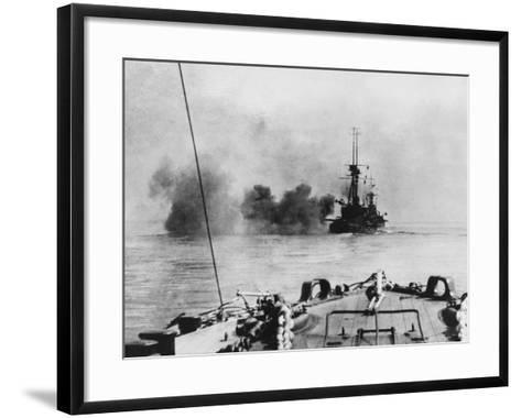 French Battleship in Action in the Dardanelles During World War I-Robert Hunt-Framed Art Print