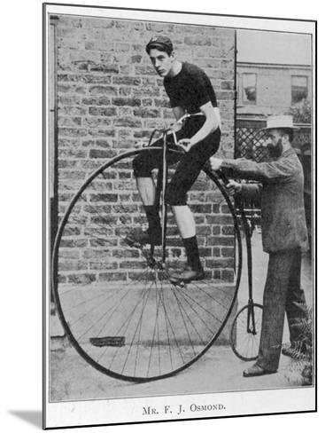 F J Osmond, Noted Racing Cyclist, on His Machine--Mounted Photographic Print