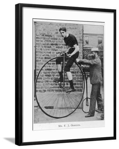 F J Osmond, Noted Racing Cyclist, on His Machine--Framed Art Print