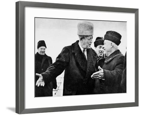 Harold Macmillan and Nikita Khrushchev--Framed Art Print