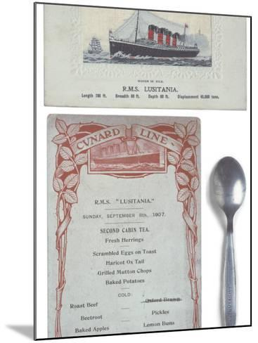 Lusitania Menu--Mounted Photographic Print