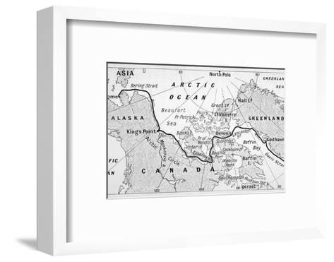 A Map Showing the Route of Amundsen's Voyage Through the North-West Passage--Framed Art Print