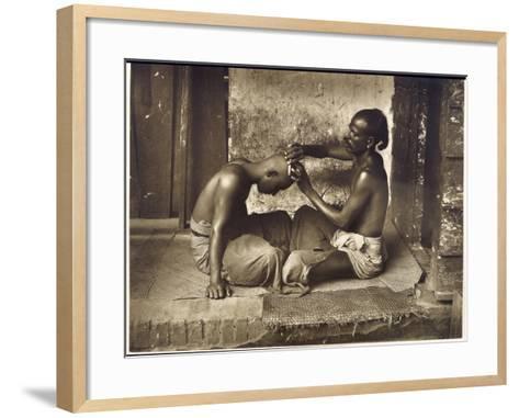 A Barber at Work in Ceylon (Sri Lanka)--Framed Art Print