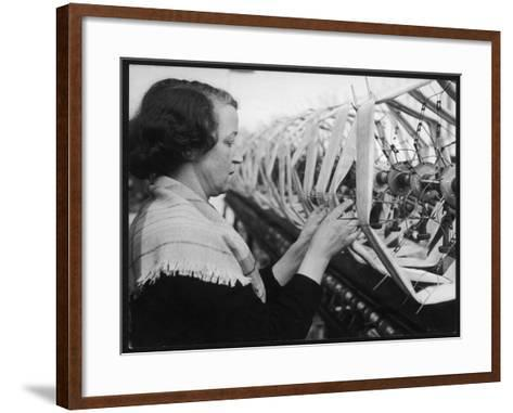 A Woman Working in a Silk and Rayon Mill, Burnley, Lancashire, Britain-Henry Grant-Framed Art Print