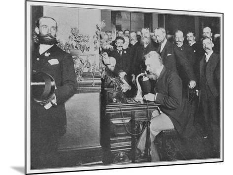Alexander Graham Bell Inaugurates the Chicago-New York Long Distance Line--Mounted Photographic Print
