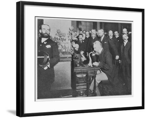 Alexander Graham Bell Inaugurates the Chicago-New York Long Distance Line--Framed Art Print