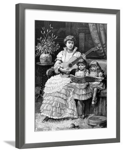Christmas Carols in a Victorian Household, 1885--Framed Art Print