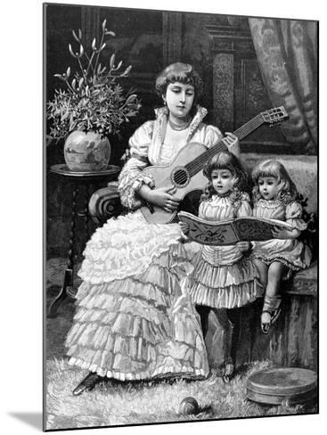 Christmas Carols in a Victorian Household, 1885--Mounted Photographic Print
