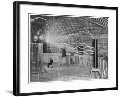 Nikola Tesla Produces Artificial 'Lighting'--Framed Art Print