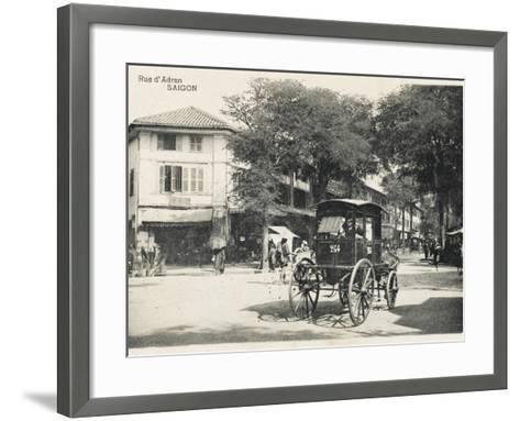 Adran Street - Saigon with Horse Cab--Framed Art Print