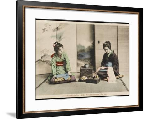 A Japanese Lady and Her Maidservant--Framed Art Print
